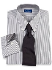 Contrast Fabric Trim Pinpoint Oxford Dress Shirt