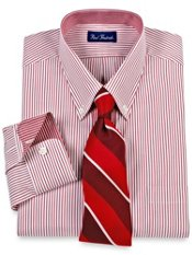 Trim Fit Contrast Fabric Trim Pinpoint Oxford Dress Shirt