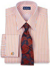 Trim Fit Raised Satin Stripe Dress Shirt