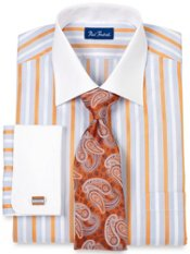 Trim Fit Raised Stripe White Collar & French Cuff Dress Shirt