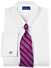Tone-on-Tone Eyelet Collar French Cuff Dress Shirt