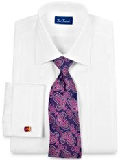 Tone-on-Tone Satin Stripe French Cuff Dress Shirt