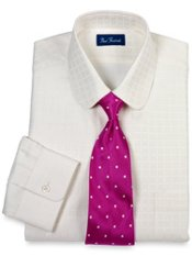 Tone-on-Tone Windowpane Club Collar Dress Shirt