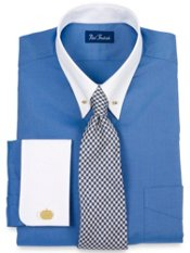 White Eyelet Collar & French Cuff Trim Fit Dress Shirt