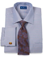 Trim Fit European Style Houndstooth French Cuff Dress Shirt