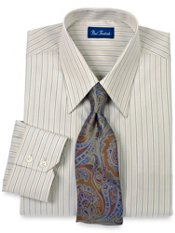 European Style Italian Cotton Alternating Stripe Dress Shirt