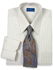 Trim Fit European Style Italian Cotton Alternating Stripe Dress Shirt