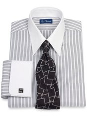 2-Ply Cotton Satin Rope Stripe Straight Collar French Cuff Dress Shirt