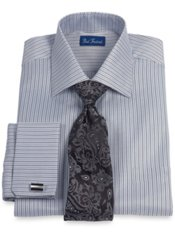 2-Ply Cotton Satin Herringbone Stripe Spread Collar French Cuff Dress Shirt