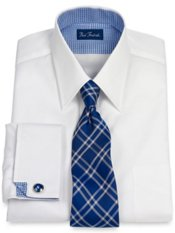 2-Ply Cotton Pinpoint Oxford Straight Collar French Cuff Dress Shirt