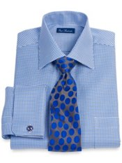 2-Ply Cotton Houndstooth Spread Collar French Cuff Dress Shirt