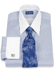 2-Ply Cotton Satin Shadow Stripe Straight Collar French Cuff Dress Shirt
