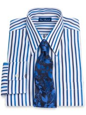 2-Ply Cotton Raised Satin Stripe Straight Collar Dress Shirt