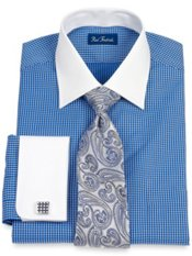 2-Ply Cotton Satin Check Windsor Collar French Cuff Trim Fit Dress Shirt