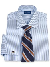 100% Cotton Alternating Stripe Windsor Collar French Cuff Dress Shirt