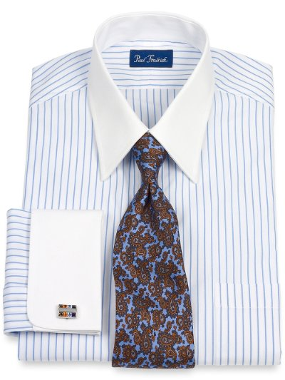 Paul Fredrick Mens 100 Cotton Stripe Straight Collar: straight collar dress shirt