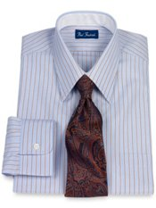 2-Ply Cotton Alternating Stripe Straight Collar Dress Shirt