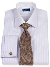 2-Ply Cotton Satin Twill Stripe Windsor Collar French Cuff Dress Shirt