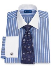 Luxury Cotton Satin Stripe Windsor Collar French Cuff Dress Shirt