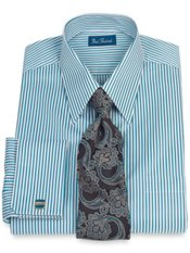 Italian Cotton Raised Stripe Straight Collar French Cuff Dress Shirt
