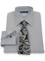 2-Ply Cotton Check Spread Collar Trim Fit Dress Shirt