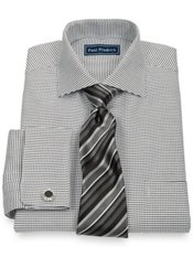 2-Ply Cotton Grid Cutaway Collar French Cuff Trim Fit Dress Shirt