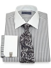 2-Ply Cotton Satin Twill Stripe Spread Collar French Cuff Dress Shirt