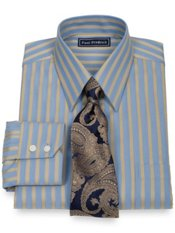 2-Ply Cotton Raised Satin Twill Stripe Straight Collar Dress Shirt