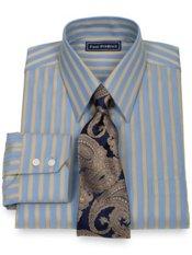 2-Ply Cotton Satin Twill Stripe Straight Collar Trim Fit Dress Shirt