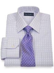 2-Ply Cotton Satin Windowpane Spread Collar Trim Fit Dress Shirt