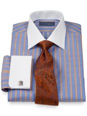 2-Ply Cotton Herringbone Spread Collar French Cuff Dress Shirt