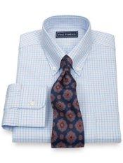 2-Ply Cotton Twill Grid Button Down Collar Dress Shirt