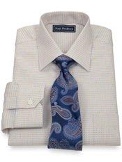 2-Ply Cotton Mini Diamond Pattern Spread Collar Trim Fit Dress Shirt