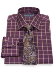 2-Ply Cotton Windowpane Spread Collar Trim Fit Dress Shirt