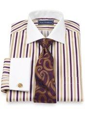 2-Ply Cotton Stripe Cutaway Collar French Cuff Trim Fit Dress Shirt