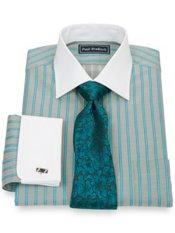 2-Ply Cotton Herringbone Spread Collar French Cuff Trim Fit Dress Shirt