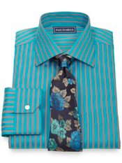 2-Ply Cotton Bold Satin Stripe Spread Collar Trim Fit Dress Shirt