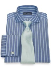 2-Ply Cotton Herringbone Extreme Cutaway French Cuff Dress Shirt