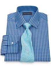 2-Ply Cotton Satin Check Spread Collar Trim Fit Dress Shirt