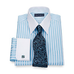 2-Ply Cotton Bold Satin Stripe Straight Collar French Cuff Dress Shirt