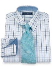 2-Ply Cotton Satin Windowpane Hidden Button Down Collar Trim Fit Dress Shirt