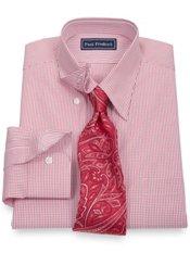 2-Ply Cotton Check Hidden Button Down Collar Dress Shirt