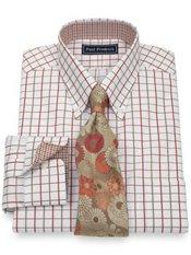 2-Ply Cotton Satin Grid Button Down Collar Trim Fit Dress Shirt