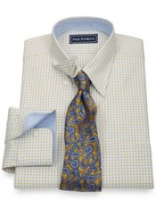 2-Ply Cotton Pinpoint Windowpane Hidden Button Down Collar Dress Shirt