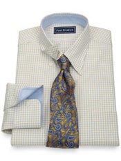 2-Ply Cotton Pinpoint Windowpane Hidden Button Down Collar Dress Shirt