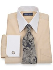 End-on-End Solid Straight Collar French Cuff Trim Fit Dress Shirt