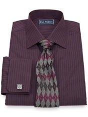 Italian Cotton Stripe Spread Collar French Cuff Trim Fit Dress Shirt