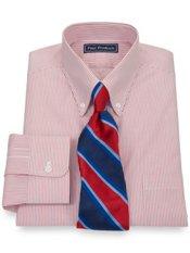 2-Ply Cotton Fine Line Stripe Button Down Collar Dress Shirt
