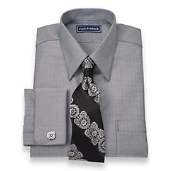 2-Ply Cotton Herringbone Straight Collar French Cuff Dress Shirt $50.00 AT vintagedancer.com