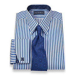 2-Ply Cotton Shadow Stripes Straight Collar French Cuff Dress Shirt $50.00 AT vintagedancer.com